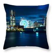 Yokohama Minatomirai At Night Throw Pillow by Beverly Claire Kaiya