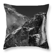 Yosemite Falls in Black and White Throw Pillow by Bill Gallagher