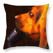 You Ain't Nothing But A Hound Dog - Dark - Painterly Throw Pillow by Wingsdomain Art and Photography