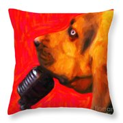 You Ain't Nothing But A Hound Dog - Red - Painterly Throw Pillow by Wingsdomain Art and Photography