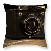 You Push The Button We Do The Rest Kodak Brownie Vintage Camera Throw Pillow by Edward Fielding