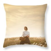 Young Edwardian Woman In A Meadow Throw Pillow by Lee Avison