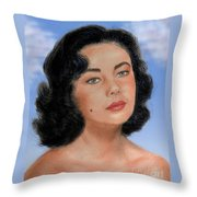 Young Liz Taylor Portrait Remake Version II Throw Pillow by Jim Fitzpatrick