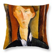 Young Man With Cap Throw Pillow by Amedeo Modigliani