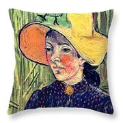 Young Peasant Girl In A Straw Hat Sitting In Front Of A Wheatfield Throw Pillow by Vincent van Gogh