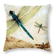 Zen Flight - Dragonfly Art By Sharon Cummings Throw Pillow by Sharon Cummings