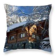 Zermatt Chalet Throw Pillow by Brian Jannsen
