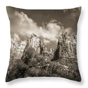 Zion Court Of The Patriarchs In Sepia Throw Pillow by Tammy Wetzel