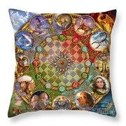 Zodiac Mandala Throw Pillow by Ciro Marchetti