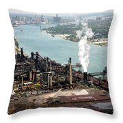 Zug Island Industrial Area Of Detroit Throw Pillow by Bill Cobb