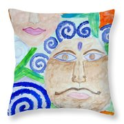Faces Throw Pillow by Sonali Gangane