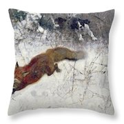 Fox Being Chased Through The Snow  Throw Pillow by Bruno Andreas Liljefors
