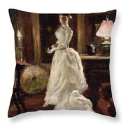 Interior scene with a lady in a white evening dress  Throw Pillow by Paul Fischer