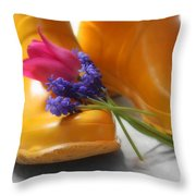 Spring Boots Throw Pillow by Cathy  Beharriell