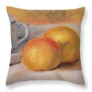 Still Life with Blue Cup Nature Morte a la Tasse Bleue Throw Pillow by Pierre Auguste Renoir