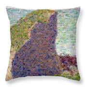 Study For Le Bec Du Hoc Throw Pillow by Georges Pierre Seurat