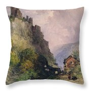 The Castle Of Katz On The Rhine Throw Pillow by William Callow