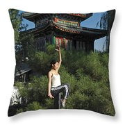 A Chinese Woman In Her 20s To 30s Doing Throw Pillow by Justin Guariglia
