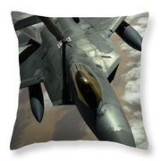 A U.s. Air Force F-22 Raptor Throw Pillow by Stocktrek Images