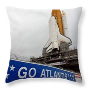 A View Space Shuttle Atlantis On Launch Throw Pillow by Stocktrek Images