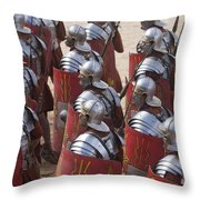 Actors Re-enact A Roman Legionaries Throw Pillow by Taylor S. Kennedy