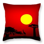 Africa Sunset Throw Pillow by Michal Boubin