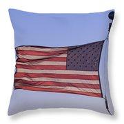An American Flag At Sunrise Throw Pillow by Joel Sartore
