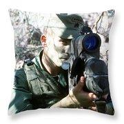 An Army Ranger Sets Up An Anpaq-1 Laser Throw Pillow by Stocktrek Images