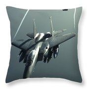 An F-15e Strike Eagle Flies Over Iraq Throw Pillow by Stocktrek Images