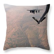 An F-15e Strike Eagle Is Refueled Throw Pillow by Stocktrek Images