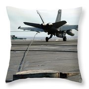 An Fa-18c Hornet Makes An Arrested Throw Pillow by Stocktrek Images