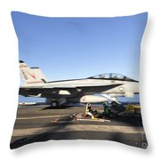 An Fa-18f Super Hornet Launches Throw Pillow by Stocktrek Images