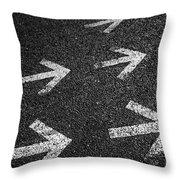 Arrows On Asphalt Throw Pillow by Carlos Caetano