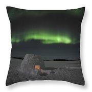 Aurora Borealis Over An Igloo On Walsh Throw Pillow by Jiri Hermann