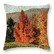 Autumn Landscape Throw Pillow by Henri-Edmond Cross