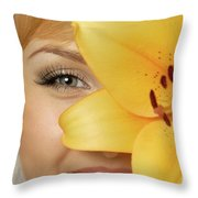 Beautiful Young Woman With A Yellow Lily Throw Pillow by Oleksiy Maksymenko