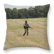 Belgian Paratroopers Proceeding Throw Pillow by Luc De Jaeger