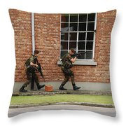 Belgian Soldiers On Patrol Throw Pillow by Luc De Jaeger
