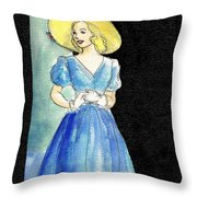 Blue Gown Throw Pillow by Mel Thompson