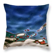 boat reflexion Throw Pillow by Stylianos Kleanthous