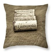 Bordeaux Wine Corks Throw Pillow by Frank Tschakert