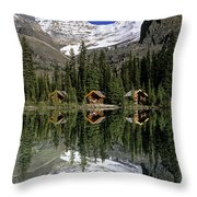Cabins, Sargents Point, Lake Ohara Throw Pillow by John Sylvester