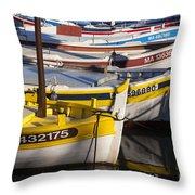 Cassis Boats Throw Pillow by Brian Jannsen