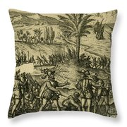 Columbus Arrested Throw Pillow by Photo Researchers