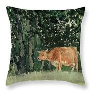 Cow in Pasture Throw Pillow by Winslow Homer