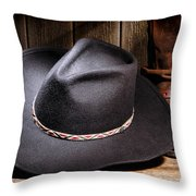 Cowboy Hat Throw Pillow by Olivier Le Queinec