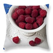 Cup full of raspberries Throw Pillow by Garry Gay