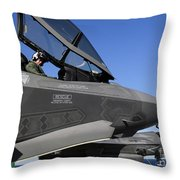 F-35b Lightning II Variants Are Secured Throw Pillow by Stocktrek Images