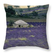 Field Of Lavender. Sault Throw Pillow by Bernard Jaubert