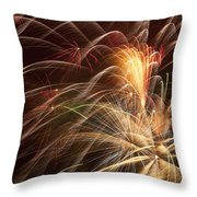 Fireworks In Night Sky Throw Pillow by Garry Gay